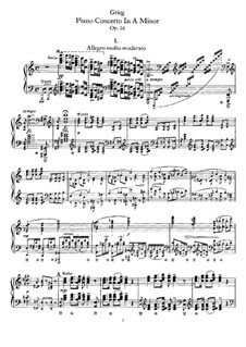 Piano Concerto in A Minor, Op.16: For piano (reduc) by Edvard Grieg