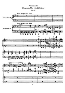 Concerto for Piano and Orchestra No.1 in G Minor, Op.25: Versão para dois pianos de quatro mãos by Felix Mendelssohn-Bartholdy