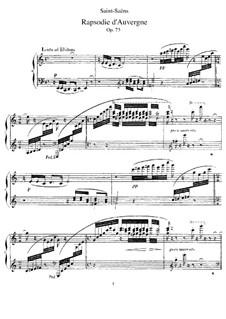 Rhapsodie d'Auvergne, Op.73: dois pianos de quatro mãos by Camille Saint-Saëns