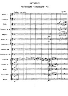 Leonore. Overture No.1, Op.138: partitura completa by Ludwig van Beethoven