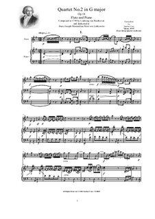 Quartet No.2 in G Major: Version for flute and piano - score and part by Ludwig van Beethoven