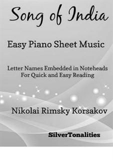 Sadko. Opera: Song of India, for easy piano by Nikolai Rimsky-Korsakov