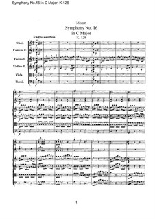 Symphony No.16 in C Major, K.128: partitura completa by Wolfgang Amadeus Mozart
