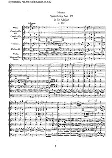 Symphony No.19 in E Flat Major, K.132: partitura completa by Wolfgang Amadeus Mozart