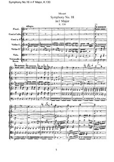 Symphony No.18 in F Major, K.130: partitura completa by Wolfgang Amadeus Mozart