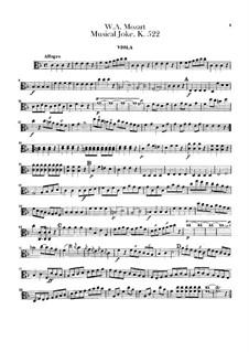 A Musical Joke, K.522: parte viola by Wolfgang Amadeus Mozart