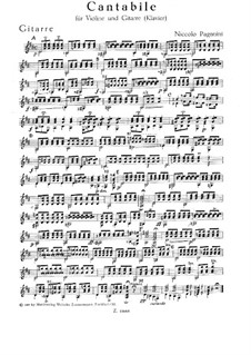 Cantabile for Violin and Guitar (or Piano), MS 109 Op.17: Partes by Niccolò Paganini