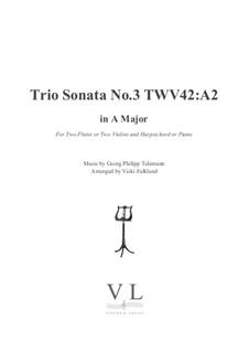 Trio Sonata for Violin, Flute (or Violin II) and Basso Continuo, TWV 42:A2: partituras completas, partes by Georg Philipp Telemann