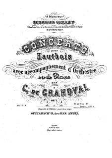 Concerto for Oboe and Orchestra, Op.7: Version for oboe and piano – score, part by Marie Grandval