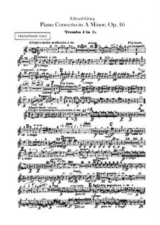 Piano Concerto in A Minor, Op.16: parte trompetas by Edvard Grieg