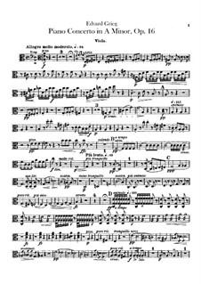 Piano Concerto in A Minor, Op.16: parte violas by Edvard Grieg