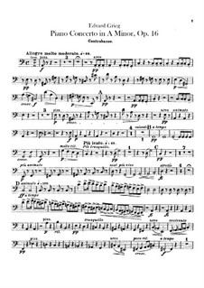 Piano Concerto in A Minor, Op.16: Parte contrabaixo by Edvard Grieg