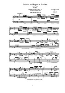 Prelude and Fugue No.4 in F Minor, BWV 534: Para Piano by Johann Sebastian Bach