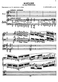 Fantaisie sur des Chants Epiques Russes, Op.48: dois pianos de quatro mãos by Anton Arensky