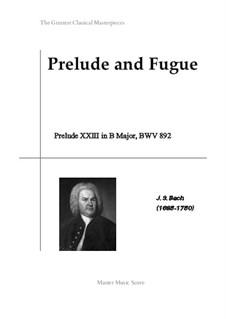 Prelude and Fugue No.23 in B Major, BWV 892: Prelude by Johann Sebastian Bach