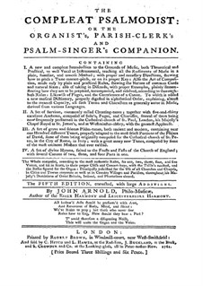 The Compleat Psalmodist: Movement I (Fifth edition) by John Arnold