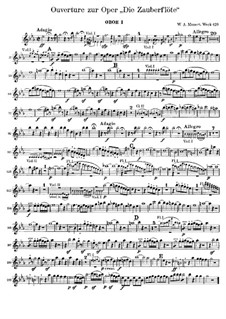 Overture: parte de oboes by Wolfgang Amadeus Mozart