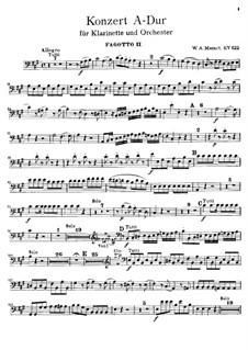 Concerto for Clarinet and Orchestra in A Major, K.622: fagote parte II by Wolfgang Amadeus Mozart