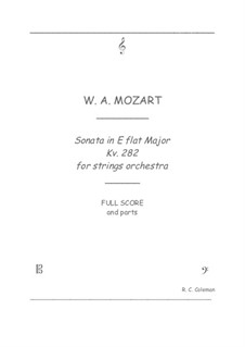 Sonata for Piano No.4 in E Flat Major, K.282: Strings orchestra transcription by Wolfgang Amadeus Mozart
