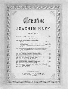 Six Pieces for Violin and Piano, Op.85: No.3 Cavatina – score, solo part (cello) by Joseph Joachim Raff