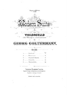 Modern Suite for Cello and Piano, Op.122: partitura by Georg Goltermann