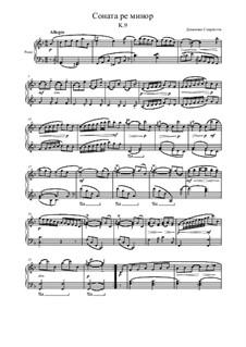 Sonata No.413 in D Minor, K.9 L.413 P.65: Para Piano by Domenico Scarlatti