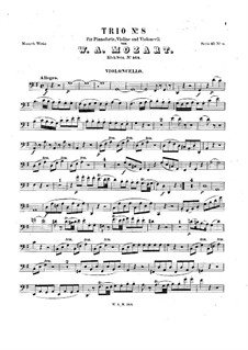 Trio for Violin, Cello and Piano No.5 in G Major, K.564: parte violoncelo by Wolfgang Amadeus Mozart