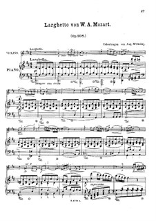 Quintet for Clarinet and Strings in A Major, K.581: Movement II. Arrangement for violin and piano by Wolfgang Amadeus Mozart