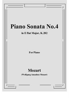 Sonata for Piano No.4 in E Flat Major, K.282: para um único musico (Editado por H. Bulow) by Wolfgang Amadeus Mozart