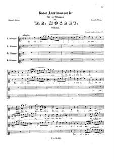 Lacrimoso son'io, K.555: partituras de vocais by Wolfgang Amadeus Mozart