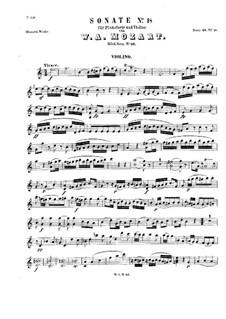 Sonata for Violin and Piano in C Major, K.56: Parte de solo by Wolfgang Amadeus Mozart