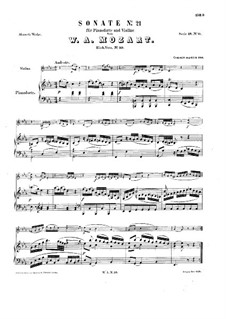 Sonata for Violin and Piano in C Minor: partitura by Wolfgang Amadeus Mozart