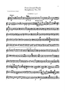 Symphony No.93 in D Major, Hob.I/93: trompa parte I-II by Joseph Haydn