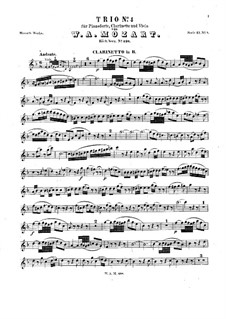 Trio for Clarinet, Viola (or Violin) and Piano in E Flat Major 'Kegelstatt', K.498: parte clarinete by Wolfgang Amadeus Mozart