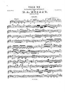 Trio for Violin, Cello and Piano No.3 in E Major, K.542: parte do violino by Wolfgang Amadeus Mozart
