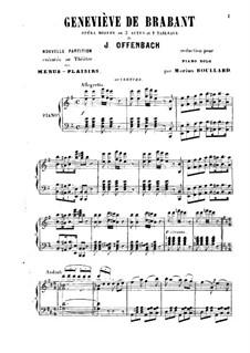 Geneviève de Brabant: Para Piano by Jacques Offenbach