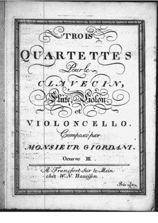 Three Quartets for Violin (or Flute), Violin II, Cello and Harpsichord, Op.3: parte violoncelo by Tommaso Giordani
