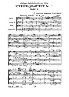 String Quartet No.1 in D Major, Op.1: String Quartet No.1 in D Major by Alexander Glazunov