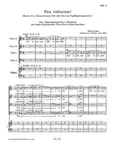 Pax vobiscum, S.64: Pax vobiscum by Franz Liszt