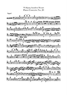 Concerto for Piano and Orchestra No.20 in D Minor, K.466: parte fagotes by Wolfgang Amadeus Mozart