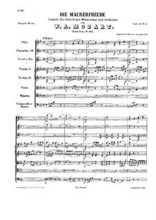 The Mason's Joy, K.471: partitura completa by Wolfgang Amadeus Mozart