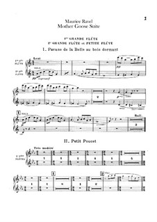 Ma mère l'oye (Mother Goose). Suite, M.60: For orchestra – flutes part by Maurice Ravel