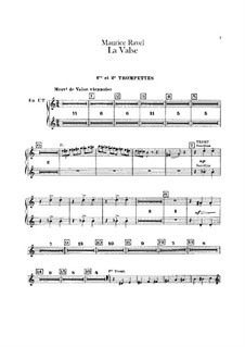 La valse. Choreographic Poem for Orchestra, M.72: parte trompetas by Maurice Ravel