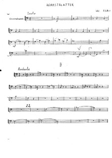 Autumn Leaves: Score for string orchestra – Double Bass part by Vladimir Ivanovich Rebikov