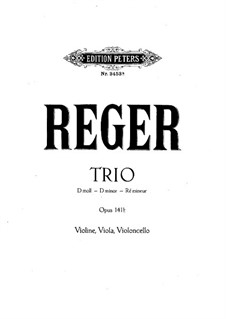 String Trio No.2 in D Minor, Op.141b: parte do violino by Max Reger