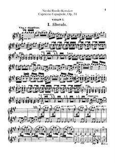 Capriccio Espagnol, Op.34: violino parte I by Nikolai Rimsky-Korsakov