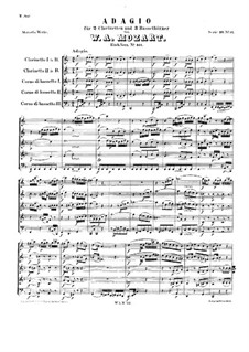 Adagio for Clarinets and Basset Horns in F Major, K.411: partitura completa by Wolfgang Amadeus Mozart