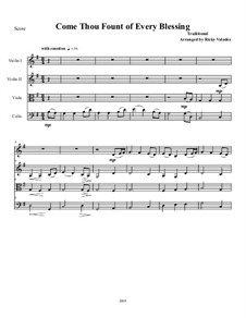 Come Thou Fount of Every Blessing: For string quartet and piano by folklore