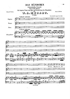 Liebes Mandel, wo ist's Bandel, K.441: para vozes e piano by Wolfgang Amadeus Mozart