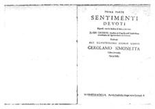 Sentimenti devoti espressi con la musica di due, e tre voci, Op.6: Complete set. Prima parte by Giovanni Legrenzi